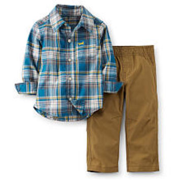 Carter's Boys 2 Piece Blue Plaid Button Up Shirt with Roll Cuffs and Tan Canvas Pant Set