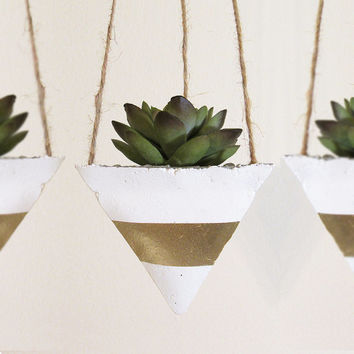 Succulent Planter, Hanging Planter, Concrete Planter, Modern Planter, Air Plant Holder, Air Planter, Succulent Pot, Gold Planter - Set of 3