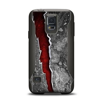 The Cracked Red Core Samsung Galaxy S5 Otterbox Commuter Case Skin Set