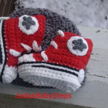 OSU Themed Crochet Converse Infant/Baby Booties