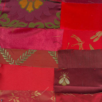 Victorian Crazy Quilt Kit Shades of Red Brocade Silk Velvet Lace Trim Beads