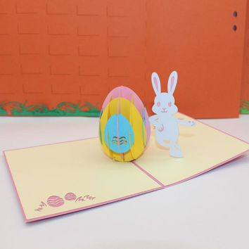 (10 pieces/lot)New Design 3D Pop Up Handmade Laser Cut Paper Cards Easter Egg Easter Bunny Greeting Cards Creative Gift