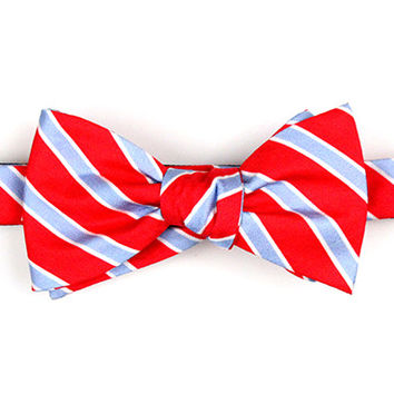 L. Blue/Red Repp Stripe Bow
