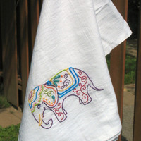 Elephant Kitchen Tea Towels Flour Sack Towel Embroidery Absorbent kitchen towel Eco friendly towels