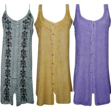 Mogul Womens Boho Chic Sundress Button Front Embroidered Resort Fashion Shift Dress Wholesale Lot Of 3 - Walmart.com