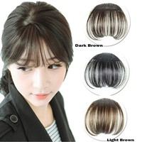 Women Clip Bangs Hair Extension Fringe Hairpieces False Synthetic Hair Clips Front Neat Bang H7JP1