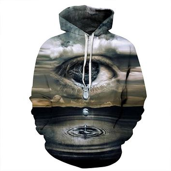 Mr.1991INC Newest Fashion Men/Women Thin Hooded Hoodies Print Clouds Big Crying Eyes 3d Sweatshirts Unisex Tracksuits Pullovers