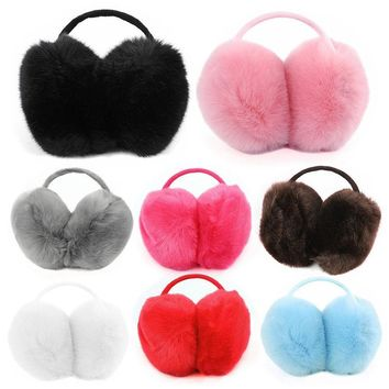 New Faux Fur Big Earmuffs Winter Warm Thick Plush Fluffy Ear Muffs Earlap Warmer