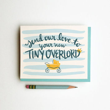 Love to Tiny Overlord card boy or girl clever cute funny calligraphy illustration chic hand lettering stripes pastel blue yellow