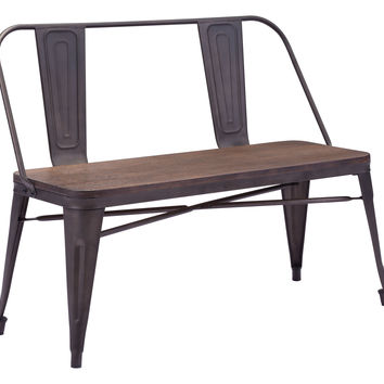 Scholarly Bench | Metal + Rustic Wood