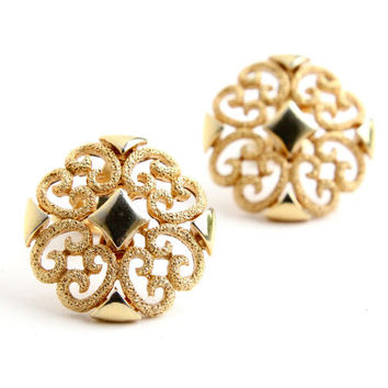 Vintage Filigree Clip On Earrings -  Mid Century 1960s Avon Gold Tone Costume Jewelry / Round Swirls