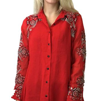Vintage Collection Embroidered Button Down Tunic Bright Red