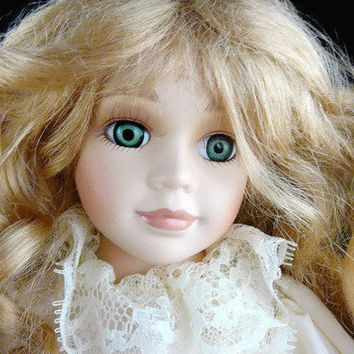 MY BIRTHDAY SALE Vintage, Porcelain Doll, Bed Time Doll, Blonde Wavy Hair, Ivory Night Gown, White Dove On Her Wrist