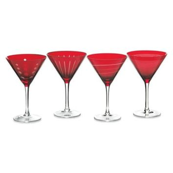 Mikasa® Cheers Martini Glasses in Ruby (Set of 4)
