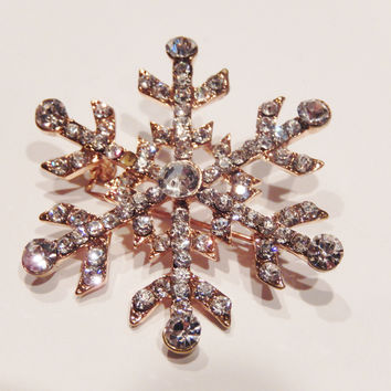 18k Gold Plated Austrian Crystals Snowflake Pin Brooch