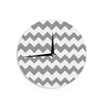 "KESS Original ""Candy Cane Gray"" Chevron Wall Clock"