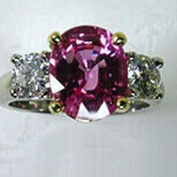 3.21ct Pink Sapphire Diamond Engagement Ring18kt White Gold JEWELFORME BLUE