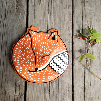 Small Fox Leather Purse