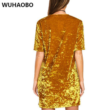 Women Velvet Dress Summer Style O-neck Short Sleeve Gold Velvet Fashion Party Clubwear Dress Soldi Color Pencil Mini Sexy Dress