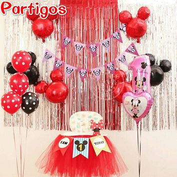 Red Black Mickey Minnie Mouse Foil Balloons Birthday Letters i'm one banner inflatable air latex globos birthday party curtain