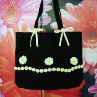 Daisy tote bag flower face bow bag 18x14 inch/ Cute tote/ large cotton bag/ shopping bag/ books tote bag/