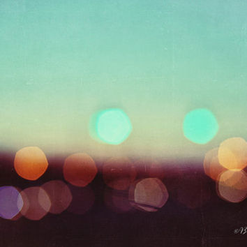 lights, teal, bokeh, blur, dreamy, fine art photography