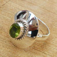 Peridot Ring Jewelry - Wholesale Silver Ring, Handmade Ring Jewelry, Fine Silver Ring, Solid Silver Ring, Fine Gemstone Ring, Bezel Ring