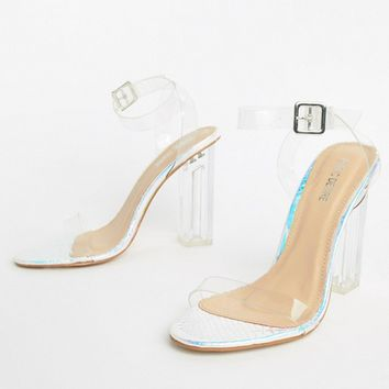 Public Desire Alia iridescent clear heeled sandals at asos.com