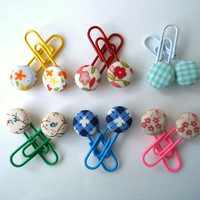 Decorative paper Clips, book marks- Fabric Covered Button,12 PIECES. Ready To Ship.