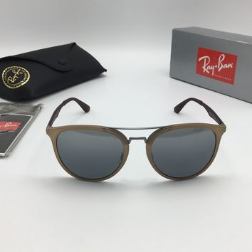 Ray-Ban RB4285 6166/88 Brow Bar Aviator Sunglasses, Grey Silver Mirror 55mm Lens