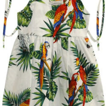 Parrots - White dress for baby