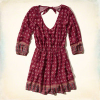 Patterned Peasant Dress