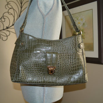 Liz Clairborne Bag, Olive, Green Croc, Satchel, Classic Bag, Purse, Pocketbook, Handbag, Shoulder Bag, Green Handbag, Leatherette