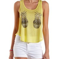 Yellow Rhinestone Pineapple Graphic Tank Top by Charlotte Russe