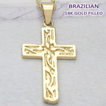 Gold Layered Men and Women Cross Religious Pendant, by Folks Jewelry