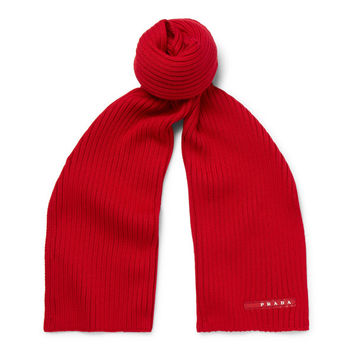 Ribbed Red Classic Scarf by Prada