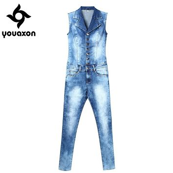 2043 Youaxon Women`s Plus Size Brand New Fashion Blue Stretch Denim Skinny Slim Fit Pants Jumpsuit Jeans For Women Jean Overalls