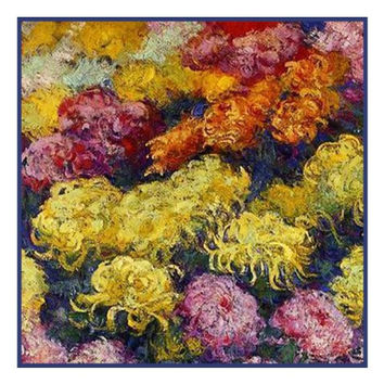 Bed of Chrysanthemums inspired by Claude Monet's impressionist painting Counted Cross Stitch or Counted Needlepoint Pattern