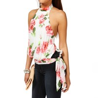 Ivory Floral Sleeveless Top