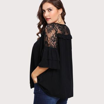 Black Plus Size Lace T-shirt Women Floral Lace Yoke Solid Tee Fashion Ruffle Sheer Tiered Layer Spring Autumn Female Tops