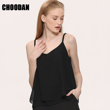 Chiffon Tank Top Women 2017 New Summer Sleeveless Shirt Sexy V-neck Cami Loose Casual Female Tops Plus Size Vest Ladies Clothing