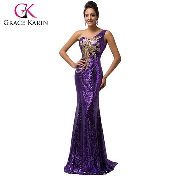 Grace Karin Sequins One Shoulder Mermaid Evening Dress 2017 Purple Emerald Green Evening Dress Long Elegant Peacock Formal Gown