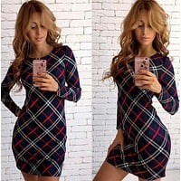 Slim Winter Stylish Fashion Plaid Print One Piece Dress [8348557057]