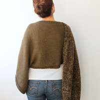 One Sleeve Two Color Chunky Knit Green Brown Hand Knitted Chunky Scarf / Oversized Knit Shawl