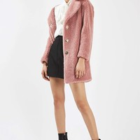 Pink Casual Faux Fur Coat | Topshop