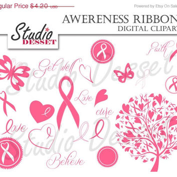 25% OFF Awareness Ribbon Clipart, Breast Cancer Ribbons, Pink Tree, Butterfly and Heart, Dare to Care Clip Art,  C187