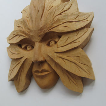 Green Woman Sculpture Hand Carved Wall Decor Mother Nature Birthday Anniversary Valentine's Day Gift , FREE SHIPPING, wall plaque