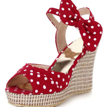 Vintage Bow Wedge Sandal
