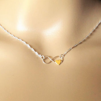 HEART INFINITY NECKLACE, silver, gold, heart, layering, petite, small, minimalist,modern, simple, choker, bridesmaid, dksjewelrydesigns