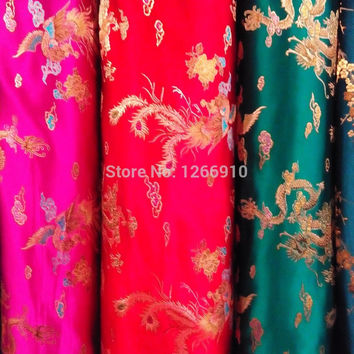 chinese silk brocade  fabric cheongsam cushion fish Peony cloud Dragon Phoenix Tapestry satin